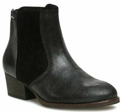 EMU Hepburn Womans black chelsea leather/suede ankle boots size UK 8 EUR 42