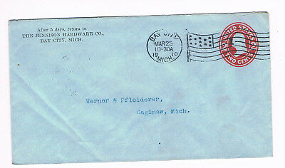 USA Postal Cover 2c 1910 used to Michigan with fancy FLAG CANCEL (A5/35)