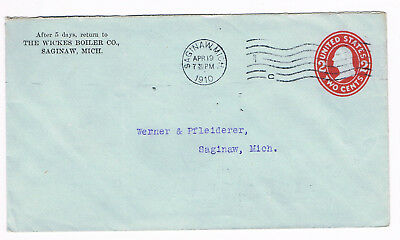 USA Postal Cover 2c 1910 used to Michigan with fancy FLAG CANCEL (A5/51)