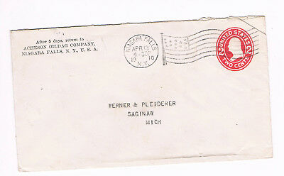 USA Postal Cover 2c 1910 used to Michigan with fancy FLAG CANCEL (A5/55)