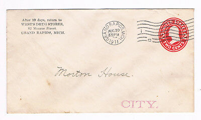 USA Postal Cover 2c 1911 used from Grand Rapids with fancy FLAG CANCEL (A5/57)