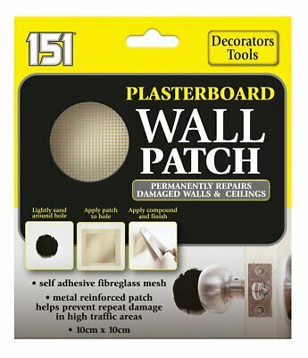 151 Plasterboard Wall Patch 10 x 10cm Repairs Holes Damage To Walls & Ceilings