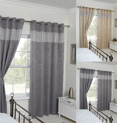 Diamante Blackout Curtains, Luxe Black Out Ring Top Eyelet Curtain Pair