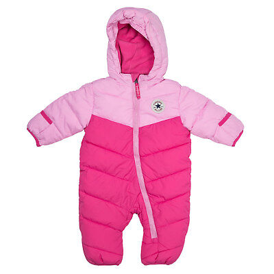 Baby Girls Converse Snowsuit In Pink- Lined Hood- Zip Fastening- Cuffs Fold Into