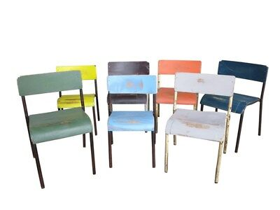 Hand Painted & Distressed Childrens Church Stacking Chairs - Seating