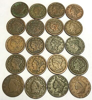 Lot Of 20 Us Large Cents Coronet And Braided Coins