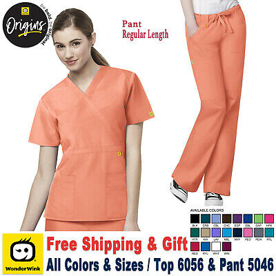 53380ad4a19 WonderWink Scrubs Set ORIGINS Women's Waist Top Straight  Pant_6056/5046_Regular
