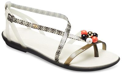 28865dc04d33 Crocs Drew Barrymore Isabella Graphic Flat Sandals Beach Summer Womens  Holiday