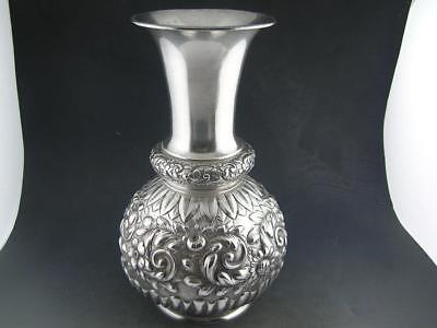 "Rare Sterling GORHAM 7"" Vase AESTHETIC repousse floral & scroll ornate c1890"