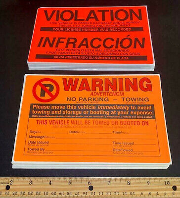 Real! 100 Window Sign Stickers! 50 Warning & 50 Tow Violation No Illegal Parking