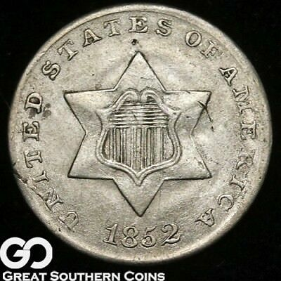 1852 Three Cent Silver, Tough Type, Choice BU++