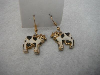 New Happy Holstein Dairy Black & White COW EARRINGS Gold Trim