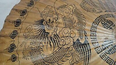 Vintage Asian Thailand Paper Rice Umbrella Parasol Bamboo Chinese Dragon