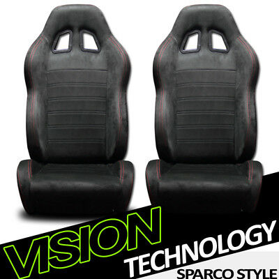 JDM SP Sport Blk Suede Red Stitch Reclinable Racing Bucket Seats+Sliders L+R V12