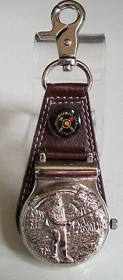 Men's Fishing Clip On Brown Leather Band/Silver Tone Pocket Watch