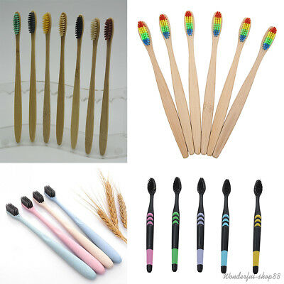 Adult Manual Toothbrush Bamboo Wooden Handle Teeth Brush Eco-friendly Travel