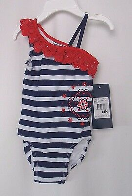 Hartstrings Baby 1 Piece Bathing Suit Embroidery Red Wht Blue 18 Mos #4318