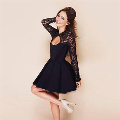 Women's Sexy Floral Long Sleeve Lace Backless Evening Party Mini Dresses Black