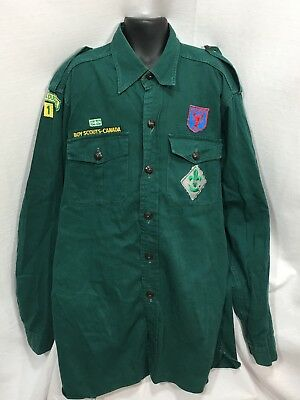 Scout Canada 1973 74 Official Uniform Shirt Green Long Sleeve Patches PEI