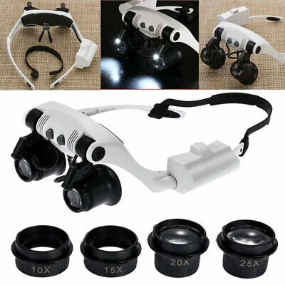 8 Lens LED Headband Magnifier Magnifying Jewelry Watch Repair Eye Loupe glasses