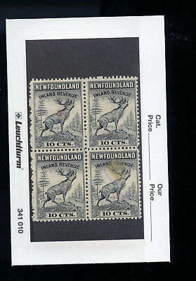 Mint Block of 4 Newfoundland Inland Revenue 10 cent stamps  BL3735