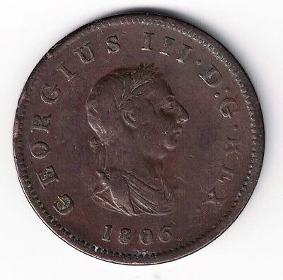 Great Britain 1806 1/2 Penny George Iii  Seated Britannia Copper Coin