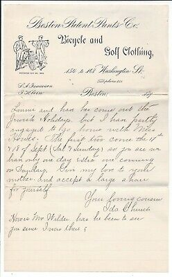 1890s Letterhead, Bicycle & Golf Clothing (Boston Patent Pants Co.)