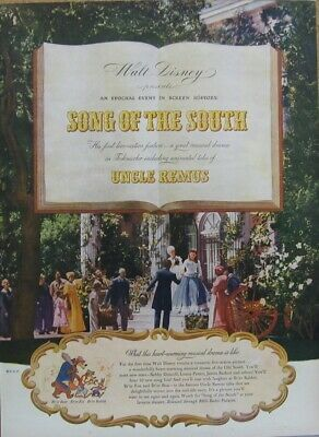 Song of the South Ad; Walt Disney 1946 magazine print ad