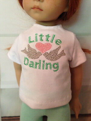 "Personalized Embroidered Shirt & Capris for 13"" Effner Little Darling Doll"