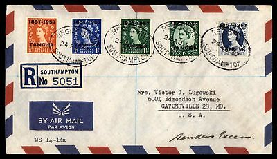 1957 Southampton Aug 24Th Registered Air Mail Cover To Gatonsville Md Usa