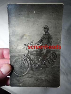1916 Rare Wwi German Wanderer Motorcycle & Jewish Soldier Rppc Photo