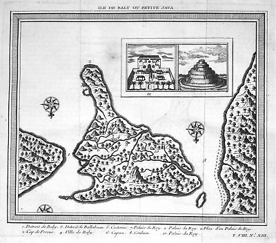 ca. 1750 Bali Indonesia Karte map Ansicht view Kupferstich antique print