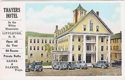 Rare 1929 Thayers Hotel Ad Postcard Littleton New Hampshire Nh White Mountains
