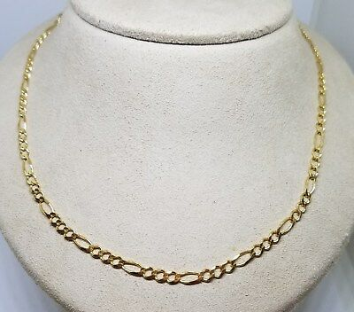Vintage Estate HAN Sterling Silver Gold Vermeil Figaro Chain Necklace ~ 23""