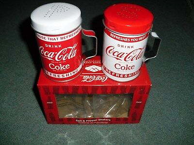 Drink Coca Cola Round Metal Tin Salt & Pepper Shakers, New in Box FREE SHIPPING