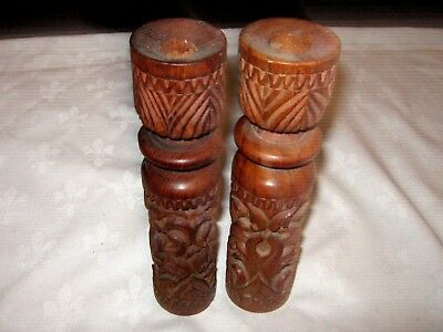 """A Pair of 8"""" Carved Wooden Tiki Bar Tribal Styled Candlestick Holders"""
