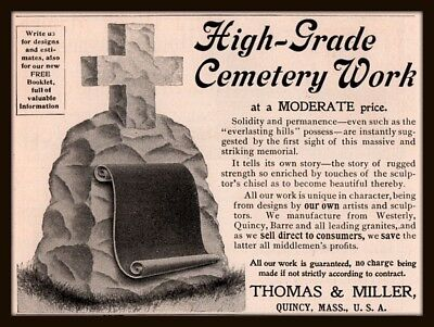 4 1896 A - 97 C  Ads Thomas & Miller Quincy Cemetery Stone Monuments Carson