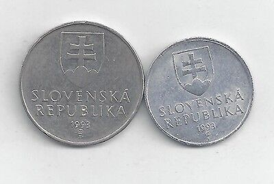 2 DIFFERENT COINS from SLOVAKIA - 20 HALERIOV & 2 KORUN (BOTH DATING 1993)