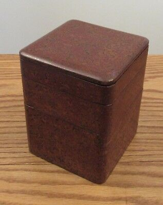 Vintage Japanese wood/lacquer stacking box graduated abstract pattern 6x5x5