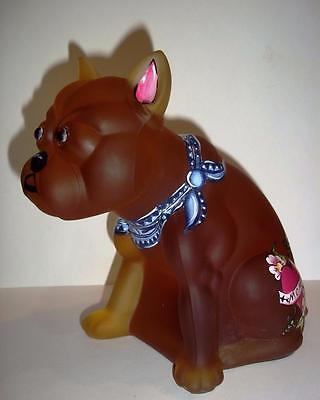 OOAK Amber Satin Glass French Bulldog Doorstop HP by Sunday Davis Westmoreland