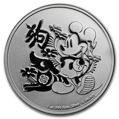 2018 ~1~OZ .999 SILVER ~ MICKEY MOUSE ~ YEAR of The DOG ~ LIMITED DISNEY ~$29.88