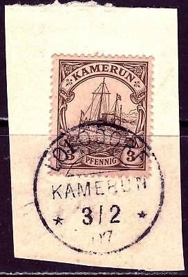 "KAMERUN GERMAN COLONY used Kaiser Yacht stamp on piece w/ ""Lolodorf"" cancel!"