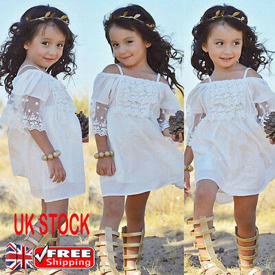 Kids Baby Girls Lace Princess Slip Dress Wedding Party Clothes Summer Sundress