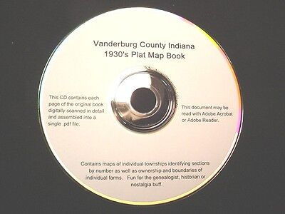 CD ~ 1930's Vanderburg County Indiana Plat Map Atlas