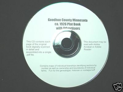 CD ~ ca.1926 Goodhue County Minnesota Plat Map Atlas