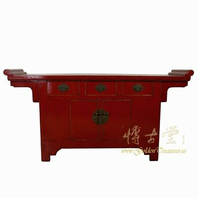 Chinese Antique Red Lacquered Altar Cabinet/Sideboard/Buffet Table 18LP43