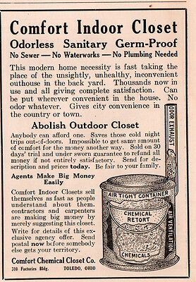 1917 A  Ad  Comfort Indoor Closet Chemical Retort Outhouse Replacement