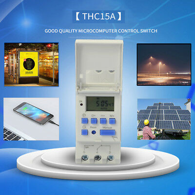 THC15A AC 220V 16A Timer Time Relay Switch Digital LCD DIN Programmable Rail