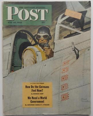 Antique Saturday Evening Post 1943 Mead Schaeffer WWII US Navy Dive Bomber Pilot