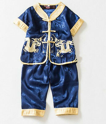Kids Boy Chinese New Year Asian Traditional TANG Dragon Party Costume outfits